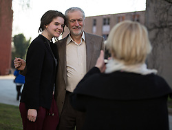 © Licensed to London News Pictures . 17/03/2016 . Salford , UK . Students queue up for photos and selfies with Labour Party leader, JEREMY CORBYN , during a visit to Energy House at Salford University . Photo credit : Joel Goodman/LNP