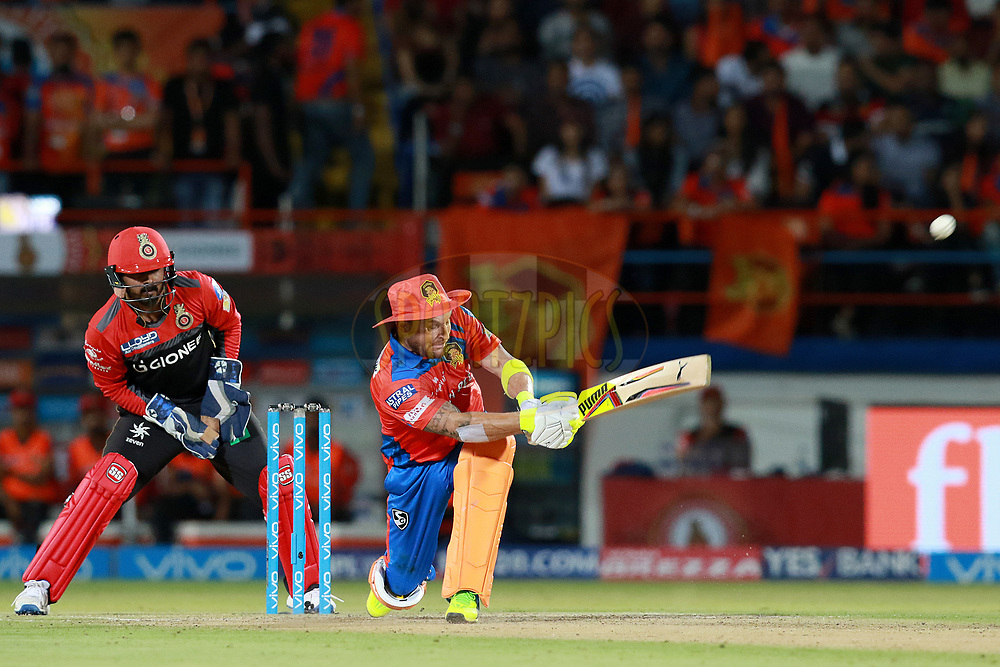 Brendon McCullum of GL plays a shot during match 20 of the Vivo 2017 Indian Premier League between the Gujarat Lions and the Royal Challengers Bangalore  held at the Saurashtra Cricket Association Stadium in Rajkot, India on the 18th April 2017<br /> <br /> Photo by Rahul Gulati - Sportzpics - IPL