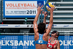 Nicole Branagh of USA vs Inguna Minusa of Latvia at A1 Beach Volleyball Grand Slam tournament of Swatch FIVB World Tour 2011, on August 2, 2011 in Klagenfurt, Austria. (Photo by Matic Klansek Velej / Sportida)
