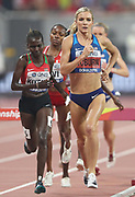 Emma Coburn (USA) places second in the women's steeplechase in 9:02.35during the IAAF World Athletics Championships, Monday, Sept. 30, 2010, in Doha, Qatar. (Claus Andersen/Image of Sport)
