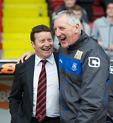 SHEFFIELD, ENGLAND - Saturday, March 17, 2012: Tranmere Rovers' manager Ronnie Moore and Sheffield United's manager Danny Wilson during the Football League One match at Bramall Lane. (Pic by David Rawcliffe/Propaganda)