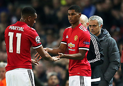 Marcus Rashford of Manchester United replaces Anthony Martial - Mandatory by-line: Matt McNulty/JMP - 31/10/2017 - FOOTBALL - Old Trafford - Manchester, England - Manchester United v Benfica - UEFA Champions League Group A