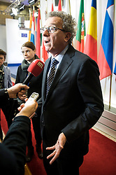Luxembourg's Finance Minister Pierre Gramegna talks to the press prior to the emergency Eurogroup finance ministers meeting at the European Council in Brussels, Belgium on 20.02.2015 Eurogroup head Jeroen Dijsselbloem was working overtime on February 20 to save a make-or-break meeting on Greece's demand to ease its bailout programme as Germany insisted it stick with its austerity commitments after days of sharp exchanges, the 19 eurozone finance ministers gathered for the third time in little over a week to consider Athens' take-it or leave-it proposal to extend an EU loan programme which expires this month. by Wiktor Dabkowski. EXPA Pictures © 2015, PhotoCredit: EXPA/ Photoshot/ Wiktor Dabkowski<br /> <br /> *****ATTENTION - for AUT, SLO, CRO, SRB, BIH, MAZ only*****