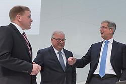 10.03.2015, Audi Forum, Ingolstadt, GER, AUDI AG Jahrespressekonferenz, im Bild von links: Prof. h. c. Thomas Sigi, verantwortlich fuer den Bereich Personal- und Sozialwesen seit 1.10.2010, Prof. Dr.-Ing. Hubert Waltl, Verantwortlich fuer den Bereich Produktion seit 1.4.2014 und Rupert Stadler, Vorstandsvorsitzender der AUDI AG AUDI AG Jahrespressekonferenz 2015, Foto: Eibner // during AUDI AG Annual Press Conference at the Audi Forum in Ingolstadt, Germany on 2015/03/10. EXPA Pictures © 2015, PhotoCredit: EXPA/ Eibner-Pressefoto/ Strisch<br /> <br /> *****ATTENTION - OUT of GER*****