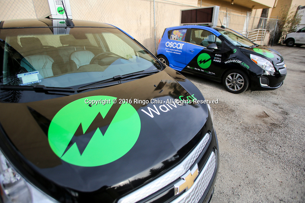 WaiveCar offers free car rentals, but there&rsquo;s a catch: you have to drive around in a car plastered with advertisements. The company offers users free car rentals for two hours and charges $5.99 for every subsequent 60 minutes. <br /> (Photo by Ringo Chiu/PHOTOFORMULA.com)<br /> <br /> Usage Notes: This content is intended for editorial use only. For other uses, additional clearances may be required.