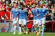 Goal Manchester City midfielder Raheem Sterling (7) scores a goal and celebrates 0-1 during the FA Community Shield match between Manchester City and Liverpool at Wembley Stadium, London, England on 4 August 2019.