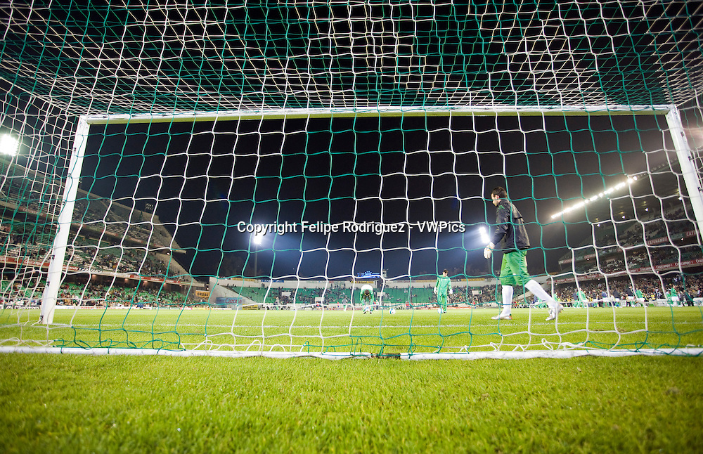 Rear view of a football goal. Taken at Ruiz de Lopera stadium (Seville, Spain), during the Spanish Liga game between Real Betis and FC Barcelona which took place on 24 January 2007. The final score was 1-1
