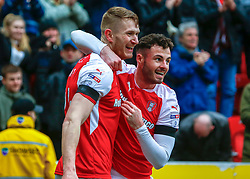 Michael Smith of Rotherham United and Anthony Forde of Rotherham United celebrate the opening goal against AFC Wimbledon - Mandatory by-line: Ryan Crockett/JMP - 03/02/2018 - FOOTBALL - Aesseal New York Stadium - Rotherham, England - Rotherham United v AFC Wimbledon - Sky Bet League One