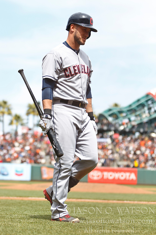 SAN FRANCISCO, CA - APRIL 26:  Yan Gomes #10 of the Cleveland Indians returns to the dugout after striking out against the San Francisco Giants during the fifth inning at AT&T Park on April 26, 2014 in San Francisco, California. The San Francisco Giants defeated the Cleveland Indians 5-3.  (Photo by Jason O. Watson/Getty Images) *** Local Caption *** Yan Gomes
