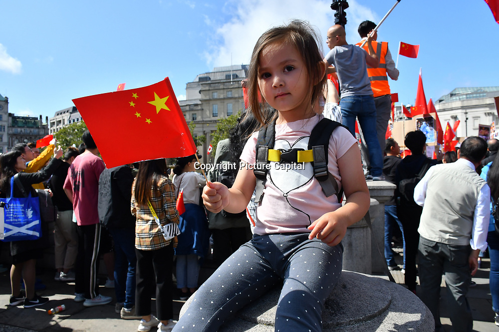 "Hundreds of Pro-China and Pro-HK united ""We love China - We Love HK"" to supports HK police assembly in London Chinatown march to Trafalgar Square anti-violence and restore peace in HK, singing China national anthem along the way and all the criminal must be punished by the rule of law. In fact, Since the HK protests and the western propaganda media backfire each day China growing supporters from all world and oversea born Chineseand your self consciousness. If we a report all they do is propagandist. How can we live with ourself? Do you have children? a nation you loves? million upon million lifes killed and murder and the entire nation destroyed. As a reporter must be honest and trueful  on 18 August 2019, London, UK."