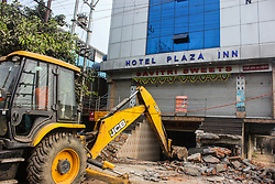 February 6, 2018 - Guwahati, Assam, India - The extension of the Hotel Plaza Inn at Bhangagarh being demolished by Guwahati Municipality Corporation  (Credit Image: © David Talukdar/Pacific Press via ZUMA Wire)