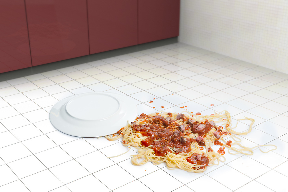 3D rendering of a fallen dish of pasta