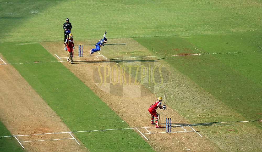 General view of the ground during match 46 of the Pepsi IPL 2015 (Indian Premier League) between The Mumbai Indians and The Royal Challengers Bangalore held at the Wankhede Stadium in Mumbai, India on the 10th May 2015.<br /> <br /> Photo by:  Sandeep Shetty / SPORTZPICS / IPL