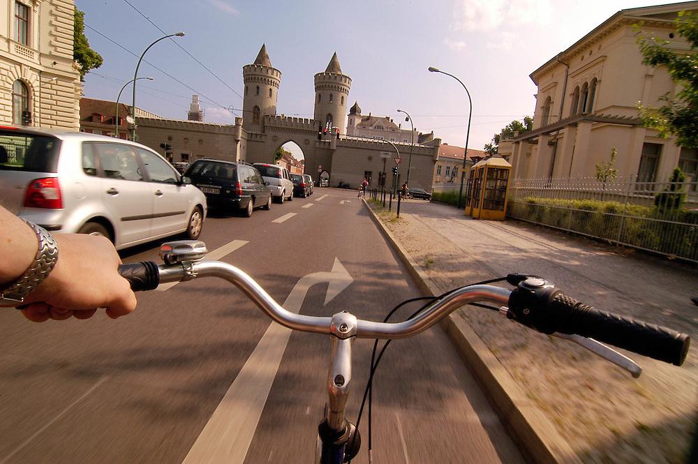 A bike view of downtown Potsdam, Germany.