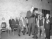 24/08/1984<br /> 08/24/1984<br /> 24 August 1984<br /> Opening of ROSC '84 at the Guinness Store House, Dublin. Lord Iveagh gives his speech at the ROSC 1984 opening. Seated behind are (front row): President Patrick Hillery and Mr Pat Murphy, ROSC Chairman and (back row) Michael Scott; Mr Brian Slowey, Managing Director, Guinness, Ireland and Maeve Hillery.