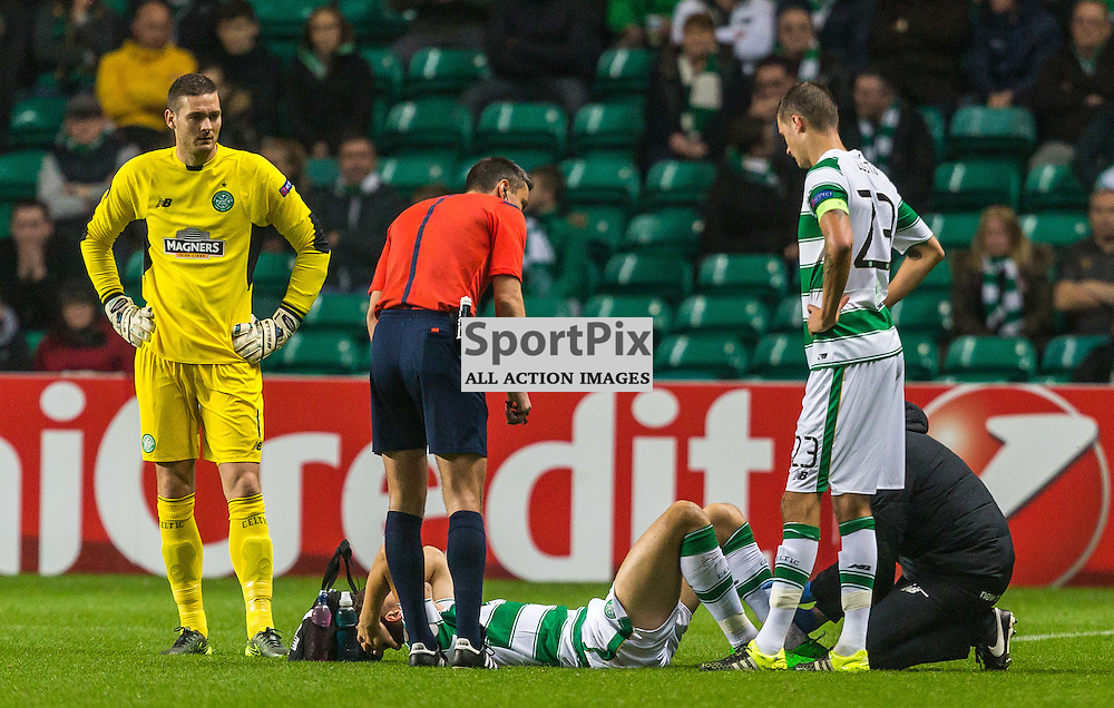 Jozo Simunovic goes off injured during the UEFA Europa League group stage match between Celtic and Molde FK (c) ROSS EAGLESHAM | Sportpix.co.uk