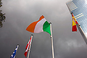 Irish flag blowing despite stormy weather, Brussels.