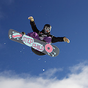 Mirabelle Thovex, France, in action during the Women's Half Pipe Qualification in the LG Snowboard FIS World Cup, during the Winter Games at Cardrona, Wanaka, New Zealand, 27th August 2011. Photo Tim Clayton..