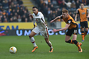Milton Keynes Dons midfielder, on loan from Norwich City, Josh Murphy(31) and Hull City midfielder Sam Clucas (11)  during the Sky Bet Championship match between Hull City and Milton Keynes Dons at the KC Stadium, Kingston upon Hull, England on 12 March 2016. Photo by Ian Lyall.