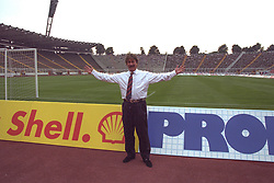 BERLIN, GERMANY - Sunday, August 7, 1994: Liverpool's Chairman David Moores poses for a picture by the pitch before a preseason friendly between Hertha BSC Berlin and Liverpool FC at the Olympiastadion. Liverpool won 3-0. (Pic by David Rawcliffe/Propaganda)