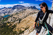 Climber on Cathedral Peak, Tuolumne Meadows, Yosemite National Park, California USA