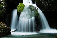 River Lepenjica, cascades, moss-grown stones in water<br /> Triglav National Park, Slovenia<br /> July 2009
