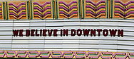 Sign on the marquee  of theFox Theater in downtown Bakerfield, California Photo by Dennis Brack