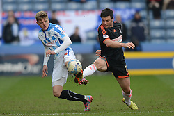 Fulham's Tim Hoogland competes with Huddersfield Town's Jake Charles - Photo mandatory by-line: Richard Martin-Roberts/JMP - Mobile: 07966 386802 - 21/03/2015 - SPORT - Football - Huddersfield - John Smith's Stadium - Huddersfield Town v Fulham - Sky Bet Championship