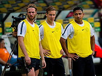 29/07/14<br /> CELTIC TRAINING<br /> PEPSI ARENA - WARSAW<br /> New signing Jo Inge Berget (left) joins team mates Stefan Johansen and Emilio Izaguirre as Celtic train in the Pepsi Arena