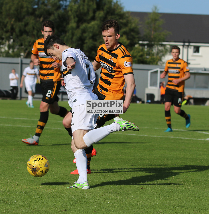 Kevin Cawley breaks into the box during the Dumbarton FC v Alloa FC Scottish Championship 5th September 2015 <br /> <br /> (c) Andy Scott | SportPix.org.uk