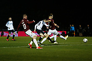 Jack Marriott shoots at goal during the The FA Cup match between Northampton Town and Derby County at the PTS Academy Stadium, Northampton, England on 24 January 2020.
