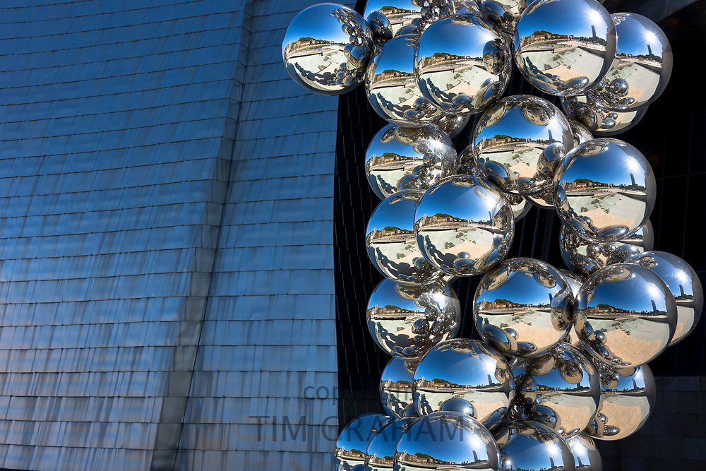 Bomba 1954 exhibit by Anish Kapoor of chrome balls outside Guggenheim Museum at Bilbao, Basque country, Spain