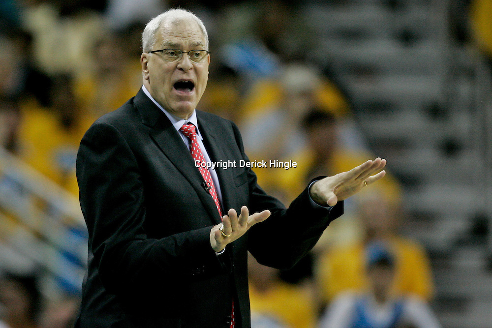 April 22, 2011; New Orleans, LA, USA; Los Angeles Lakers head coach Phil Jackson during the second half in game three of the first round of the 2011 NBA playoffs at the New Orleans Arena. The Lakers defeated the Hornets 100-86.   Mandatory Credit: Derick E. Hingle