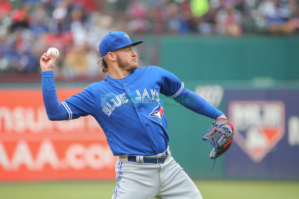April 8, 2018 - Arlington, TX, U.S. - ARLINGTON, TX - APRIL 08: Toronto Blue Jays third baseman Josh Donaldson (20) throws to first base during the game between the Toronto Blue Jays and Texas Rangers on April 8, 2018 at Globe Life Park in Arlington, Texas. (Photo by George Walker/Icon Sportswire) (Credit Image: © George Walker/Icon SMI via ZUMA Press)
