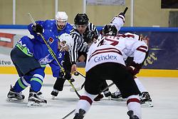 Damir Rakovic, linesman, and Ales Music of Slovenia during ice hockey match between Latvia and Slovenia at EIHC tournament Bled 2016, on November 3, 2016 in Ledena dvorana Bled, Bled, Slovenia. Photo by Morgan Kristan / Sportida