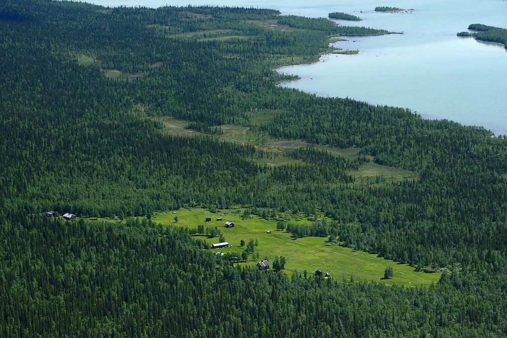 Aktse settlement, in the famous Rapa river delta, Sarek National Park, Laponia UNESCO World Heritage Site, Greater Laponia rewilding area, Lapland, Norrbotten, Sweden