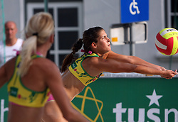 Tjasa Zupan (R) and Martina Jakob (HIT Holidays Team) at qualifications for 14th National Championship of Slovenia in Beach Volleyball and also 4th tournament of series TUSMOBIL LG presented by Nestea, on July 25, 2008, in Kranj, Slovenija. (Photo by Vid Ponikvar / Sportal Images)/ Sportida)