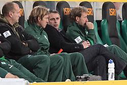 19.11.2011, BorussiaPark, Mönchengladbach, GER, 1.FBL, Borussia Mönchengladbach vs SV Werder Bremen, im BildKlaus Allofs (Geschaeftsfuehrer Profifussball Werder Bremen) auf der Bank.Michael Kraft (Torwart-Trainer Werder Bremen) re Wolfgang Rolff (Co-Trainer Werder Bremen). // during the 1.FBL, Borussia Mönchengladbach vs Werder Bremen on 2011/11/19, BorussiaPark, Mönchengladbach, Germany. EXPA Pictures © 2011, PhotoCredit: EXPA/ nph/ Mueller..***** ATTENTION - OUT OF GER, CRO *****