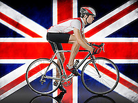 Male Cyclist cycling in front of Union Jack Flag