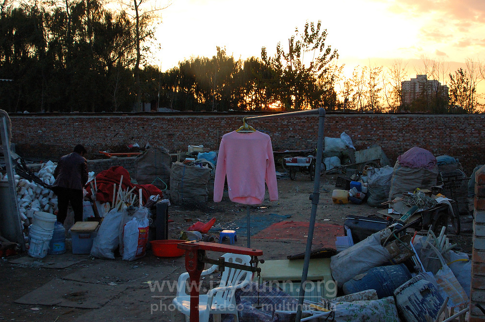 China, Beijing, Ping Fang Xiang, 2008. Everything has value in this carefully maintained recycling yard in Ping Fang Xiang.