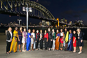 Wednesday 5 August - Captain's Call at the Luna Park Welcome Function of Netball World Cup 2015 SYDNEY. <br /> Captain's Call at the Luna Park Welcome Function. L-R NZL Casey Kopua, UGA Peace Proscovia, ENG Geva Mentor, SCO Hayley Mulheron, SAM Juliana Naoupu-Laban, MAW Caroline Mtukult, WAL Suzy Drane, PRESIDENT The Hon. Molly Rhone OJ. CD, ZAM Annie Mukamba, Chi<br /> Photo: Narelle Spangher (NWC2015 Media)<br /> For editorial news use only
