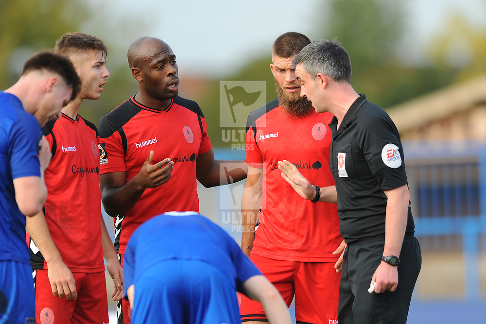 TELFORD COPYRIGHT MIKE SHERIDAN 20/10/2018 - RED CARD. John McAtee, Theo Streete and Shane Sutton of AFC Telford remonstrate with the referee after McAtee is shown a straight red for an off the ball incident with Cameron Mason of Curzon during the Vanarama Conference North fixture between Curzon Ashton and AFC Telford United at the Tameside Stadium.