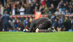 BIRMINGHAM, ENGLAND - Monday, October 13, 2008: Wales' goalkeeper Owain Fon Williams collapses dejected after losing to England during the UEFA European Under-21 Championship Play-Off 2nd Leg match at Villa Park. (Photo by Gareth Davies/Propaganda)