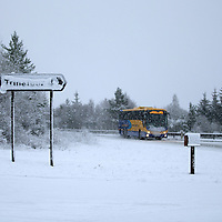 Snow lying on A9 north of Bruar and Calvine today near Trinafour as the first serious snowfall of the winter hits Perthshire...07.12.14<br /> Picture by Graeme Hart.<br /> Copyright Perthshire Picture Agency<br /> Tel: 01738 623350  Mobile: 07990 594431