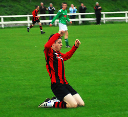 Westport Utd's Ruairi Keating celebrates the 1st goal against Claremorris on Monday evening...Pic Conor McKeown