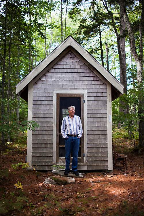 Douglas Preston, bestselling author and outspoken opponent of Amazon.com's business practices, at the small shed where he works near his home in Round Pond, Maine on Tuesday, Sept 9, 2014.<br />