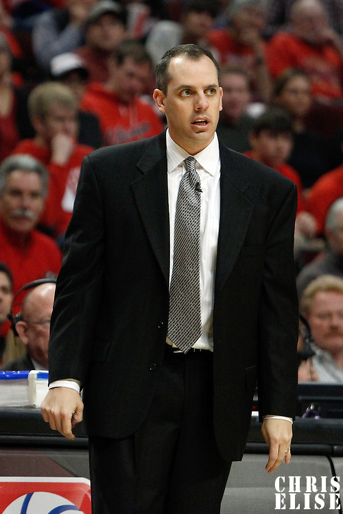 16 April 2011: Indiana Pacers head coach Frank Vogel is seen during the Chicago Bulls 104-99 victory over the Indiana Pacers, during the game 1 of the Eastern Conference first round at the United Center, Chicago, Illinois, USA.