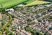 Nederland, Noord-Holland, Edam, 05-08-2014; centrum Edam metGrote Kerk in de achtergrond.<br /> Historical village Edam.<br /> luchtfoto (toeslag op standard tarieven);<br /> aerial photo (additional fee required);<br /> copyright foto/photo Siebe Swart