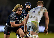 Sale Sharks prop Ross Harrison runs at the Saracens defence during the Aviva Premiership match Sale Sharks -V- Saracens at The AJ Bell Stadium, Salford, Greater Manchester, England on Friday, February 16, 2018. (Steve Flynn/Image of Sport)