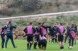 (M) Joey Pelupessy of Heracles Almelo makes fun with Reuven Niemeijer of Heracles Almelo during a training session of Heracles Almelo at the Don Julia resort on January 09, 2018 in Estepona, Spain